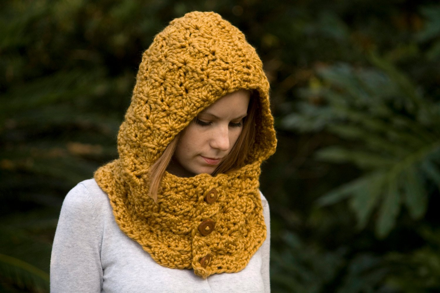 Crochet Cowl Scarf Elegant Hooded Cowl Wood button Crochet Hoo Scoo Mustard Of Awesome 42 Pics Crochet Cowl Scarf