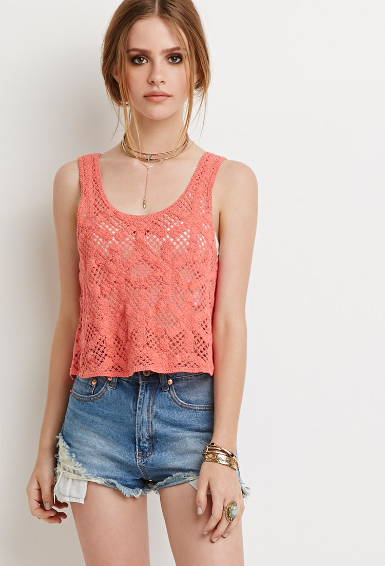 Crochet Crop top forever 21 Awesome forever 21 Floral Crochet Crop top In Pink Save Of Innovative 40 Images Crochet Crop top forever 21