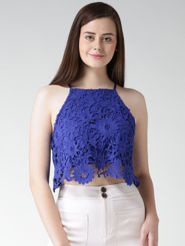 Crochet Crop top forever 21 Beautiful Buy forever 21 Blue Polyester Crochet Crop top Apparel Of Innovative 40 Images Crochet Crop top forever 21