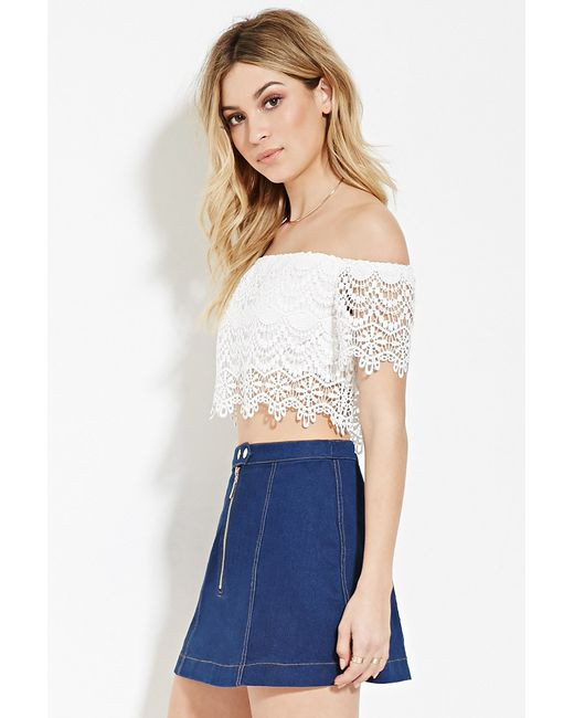 Forever 21 Crochet Crop Top in White IVORY