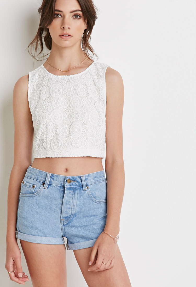 Forever 21 Floral Crochet Crop Top in Natural