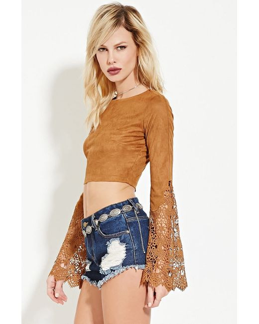 Crochet Crop top forever 21 Elegant forever 21 Rehab Crocheted Crop top In Brown Camel Of Innovative 40 Images Crochet Crop top forever 21