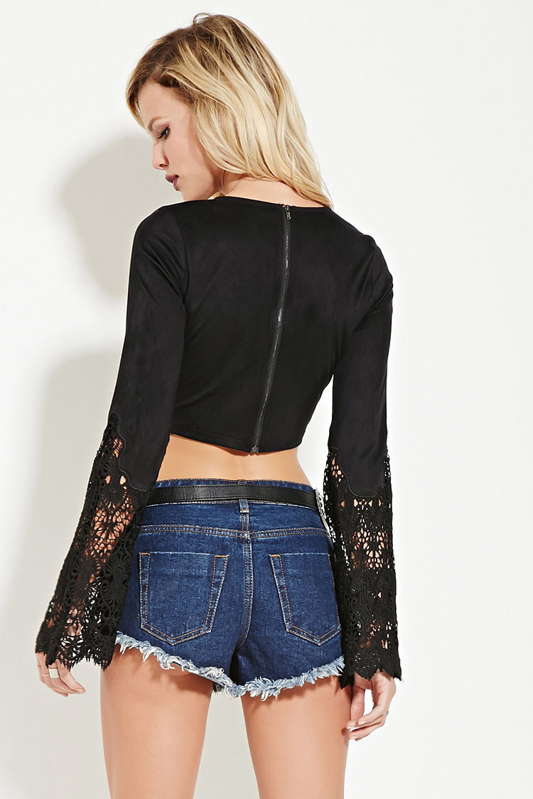 Crochet Crop top forever 21 Fresh forever 21 Rehab Crocheted Crop top In Black Of Innovative 40 Images Crochet Crop top forever 21