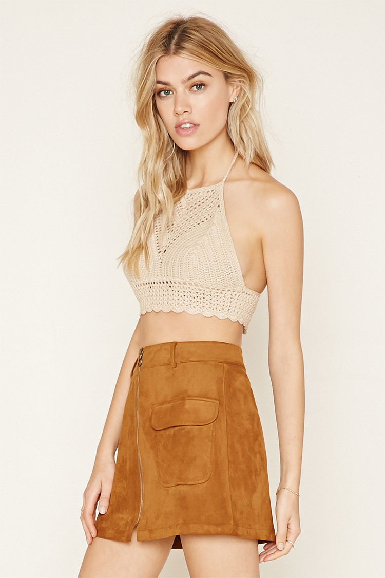 Crochet Crop top forever 21 Fresh Lyst forever 21 Cropped Crochet Halter top In Natural Of Innovative 40 Images Crochet Crop top forever 21