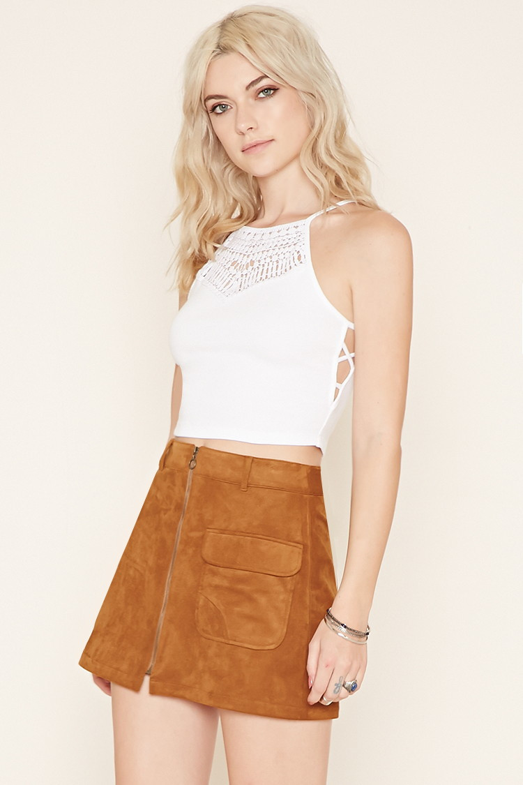 Crochet Crop top forever 21 Inspirational forever 21 Crochet Paneled Crop top In White Of Innovative 40 Images Crochet Crop top forever 21