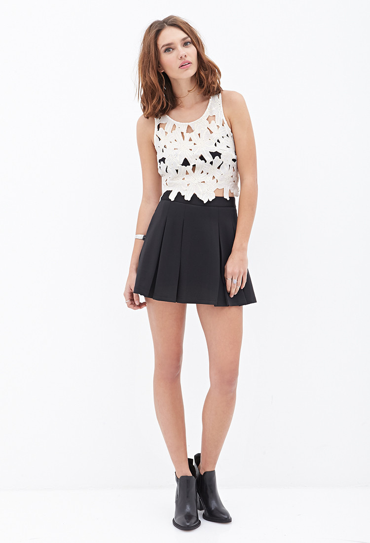 Crochet Crop top forever 21 Unique forever 21 Floral Crochet Crop top In White Of Innovative 40 Images Crochet Crop top forever 21