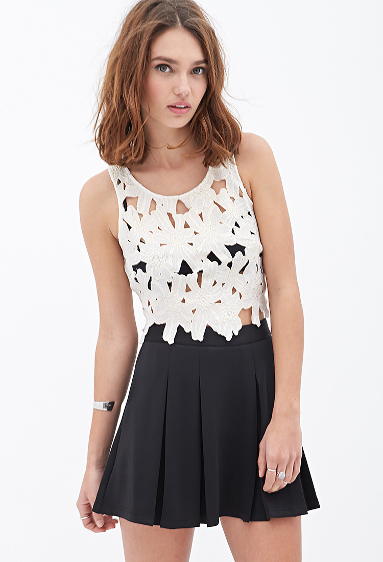 Crochet Crop top forever 21 Unique forever 21 Floral Crochet Crop top In White White Gold Of Innovative 40 Images Crochet Crop top forever 21