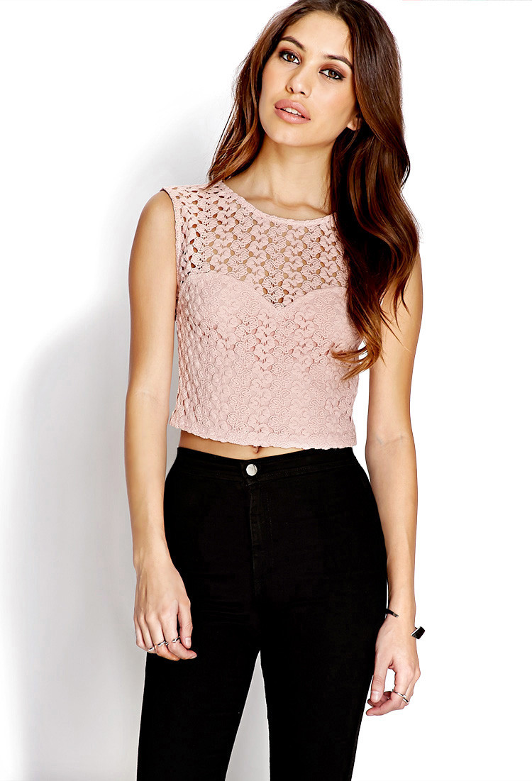 Crochet Crop top forever 21 Unique Lyst forever 21 Dainty Crochet Crop top In Pink Of Innovative 40 Images Crochet Crop top forever 21