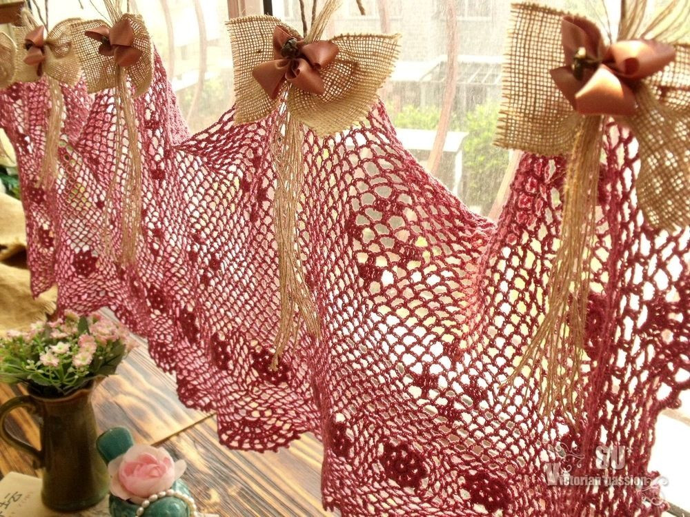 Crochet Curtain Fresh Burlap Bows Shabby French Country Chic Valance Curtain Of Adorable 40 Models Crochet Curtain
