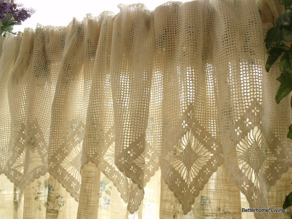 """Crochet Curtain New French Chic 20×200"""" Wide Vtg Hand Crochet Lace Valance Of Adorable 40 Models Crochet Curtain"""