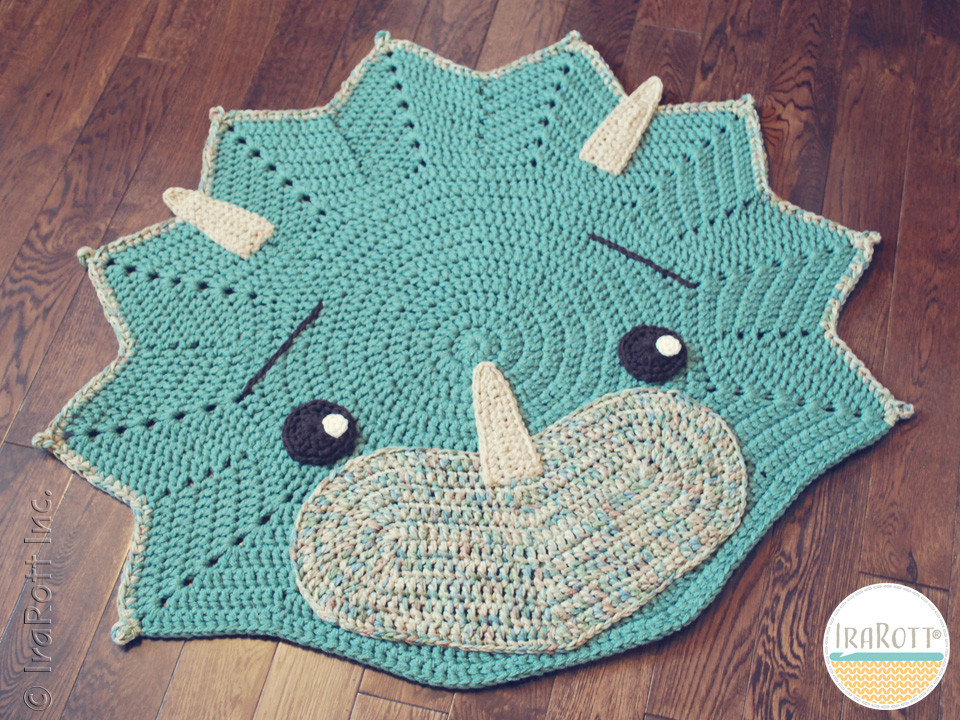 Crochet Dinosaur Blanket Inspirational tops the Triceratops Dino Rug Pdf Crochet Pattern Of Awesome 40 Images Crochet Dinosaur Blanket