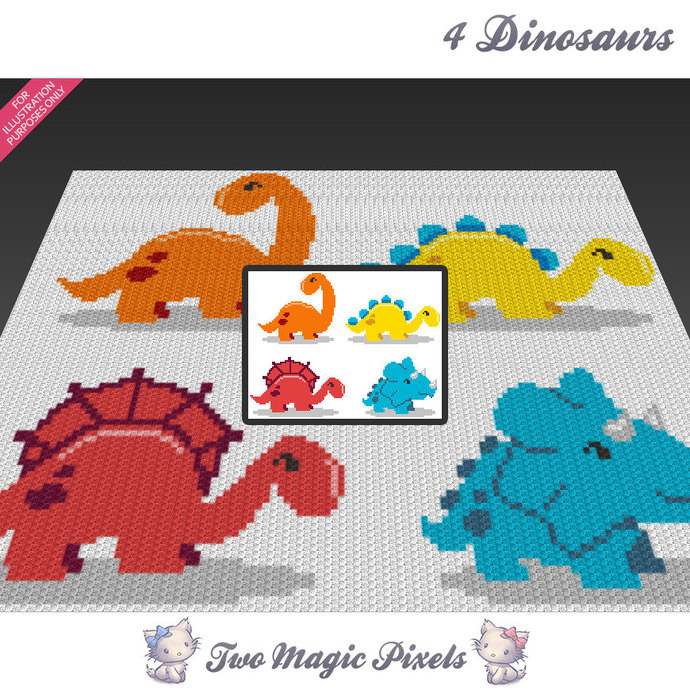 Crochet Dinosaur Blanket Luxury Four Dinosaurs C2c Graph Crochet Pattern Of Awesome 40 Images Crochet Dinosaur Blanket