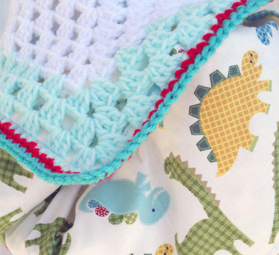 Playful dinosaur crochet baby blanket from ValkinThreads2 on