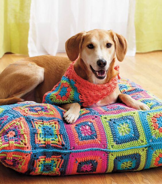 Crochet Dog Beds Beautiful Lily Dog Bed and Bandana or Simply Free Granny Square Pdf Of Charming 50 Ideas Crochet Dog Beds