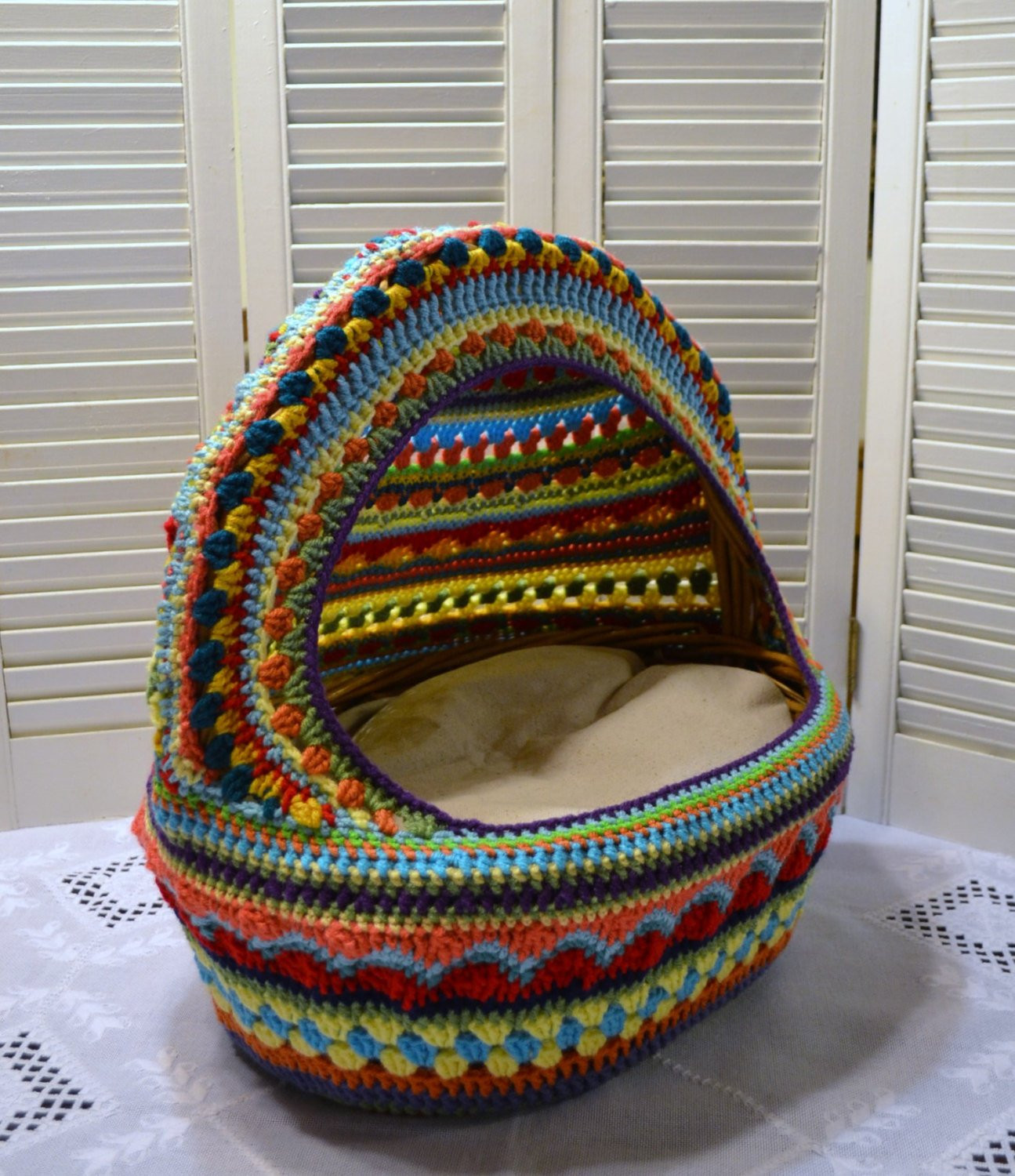 Crochet Dog Beds Unique Crochet Cat Cave Pet Bed Upcycled Wicker Basket Mulit Colored Of Charming 50 Ideas Crochet Dog Beds