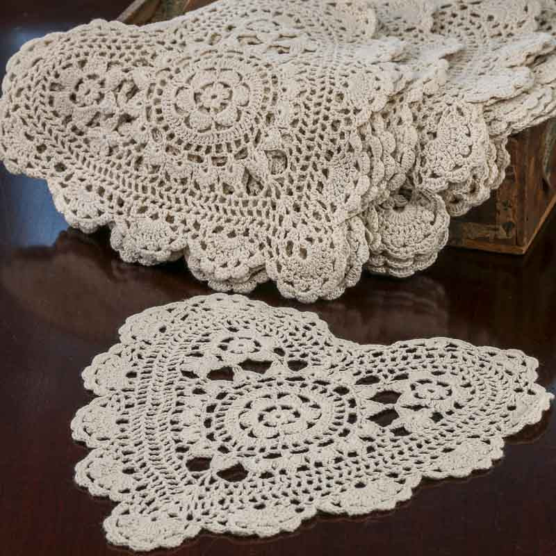 Ecru Heart Crocheted Doilies Crochet and Lace Doilies