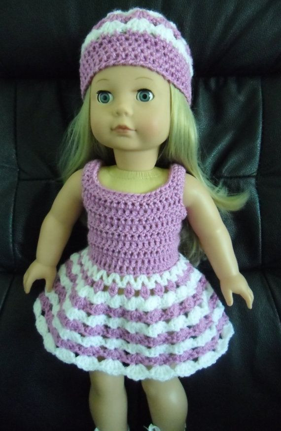 PDF Crochet pattern for 18 inch doll Dress and hat set