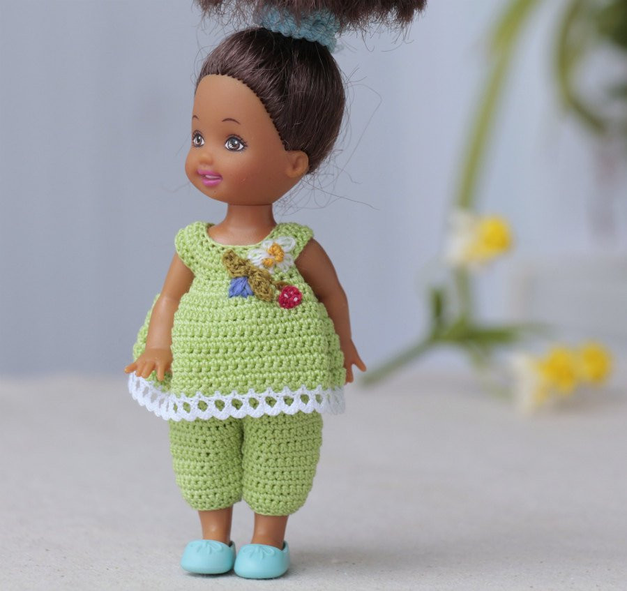 Crochet Doll Clothes Luxury 4 Inch Kelly Doll Dress Green Crocheted Set Pants and top Of Fresh 48 Images Crochet Doll Clothes
