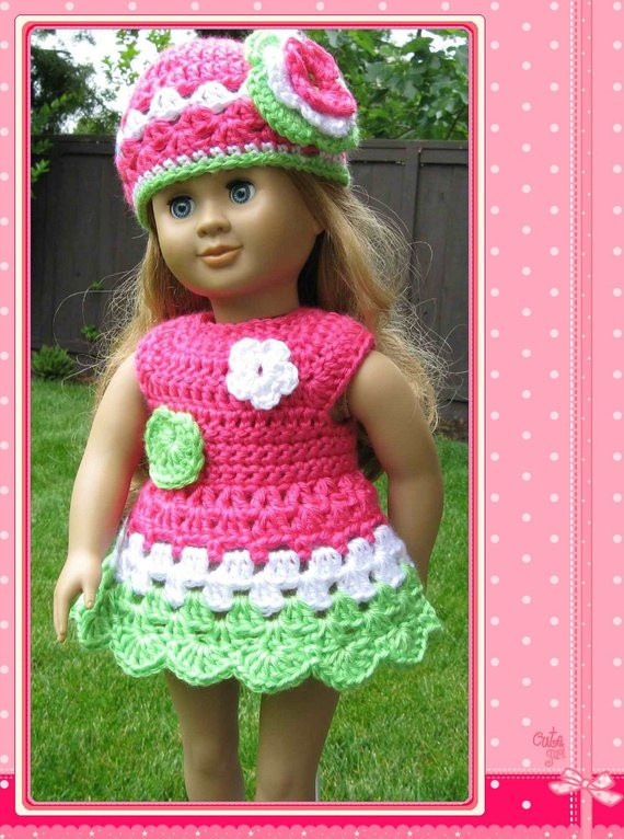 pattern crocheted doll clothes dress for