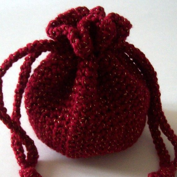 Crochet Drawstring Bag Red and Gold Pouch Etsy