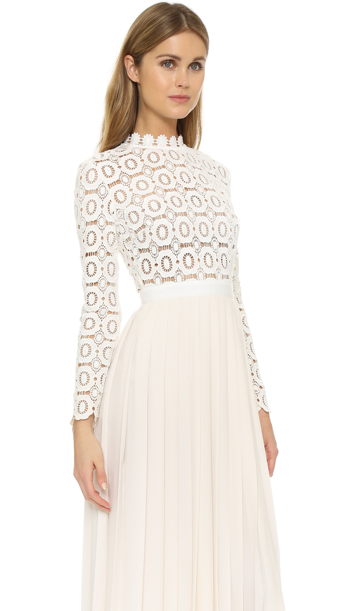 Crochet Dresses Awesome Self Portrait Pleated Crochet Crepe Maxi Dress In Natural Of Top 49 Pictures Crochet Dresses