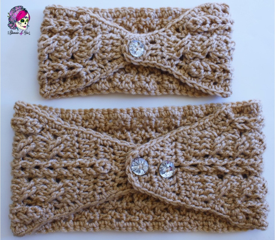 free crochet headband pattern with button closure