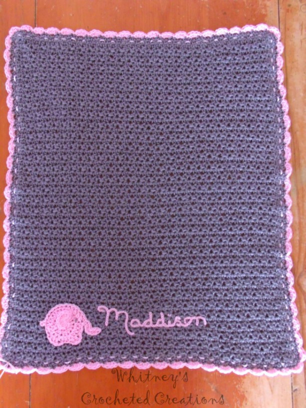 crochet elephant baby blanket infant afghan personalized