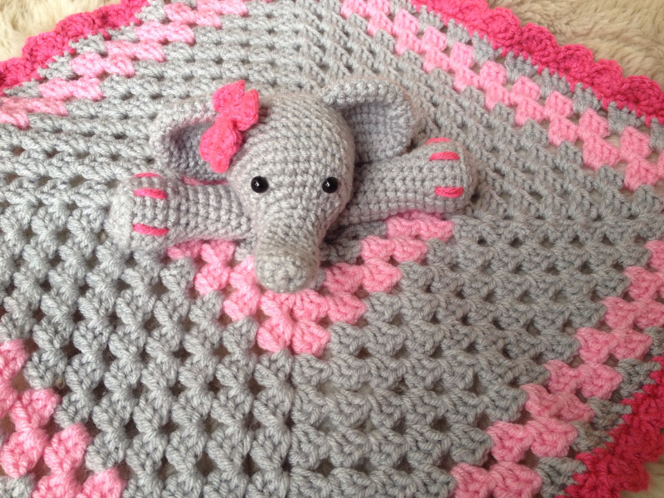 Crochet Elephant Baby Blanket Unique Crochet Elephant Lovey Security Blanket Baby Shower T Of Incredible 45 Ideas Crochet Elephant Baby Blanket