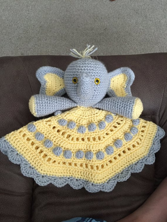 Crochet Elephant Blanket New Peanut S Lovey Hand Crocheted Elephant Lovey Blanket Of Awesome 44 Ideas Crochet Elephant Blanket