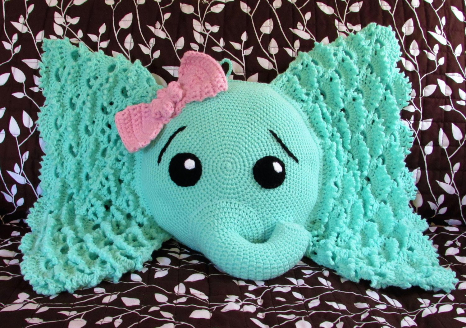 Crochet Elephant Pillow Josefina the Elephant Elephant