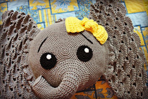 Crochet Elephant Pillow New Crocheted Elephant Pillow with Yellow Bow Elephant Pillow Of Brilliant 43 Images Crochet Elephant Pillow