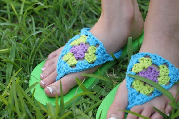 Crochet Flip Flop Slippers New Redo A Pair Of Flip Flops with Crocheted Granny Triangles Of Amazing 49 Models Crochet Flip Flop Slippers
