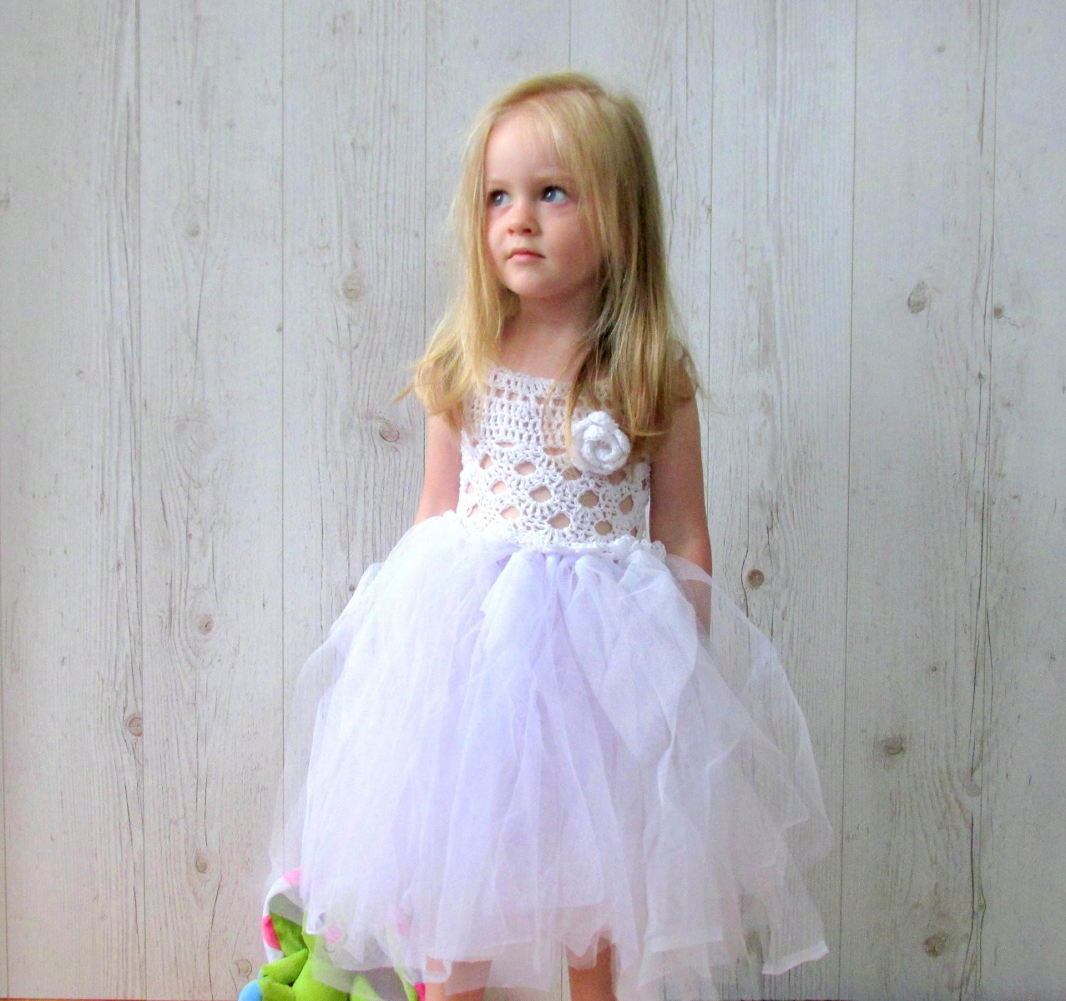 White Flower girl dress crochet tutu dress tulle dress