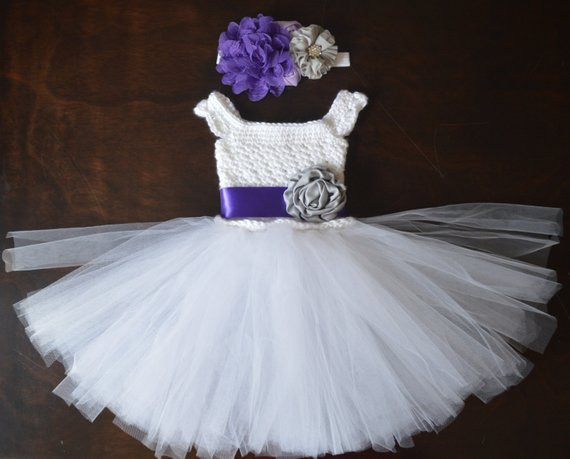 Crochet Tulle Tutu Flower Girl Dress Baby Costume Handmade