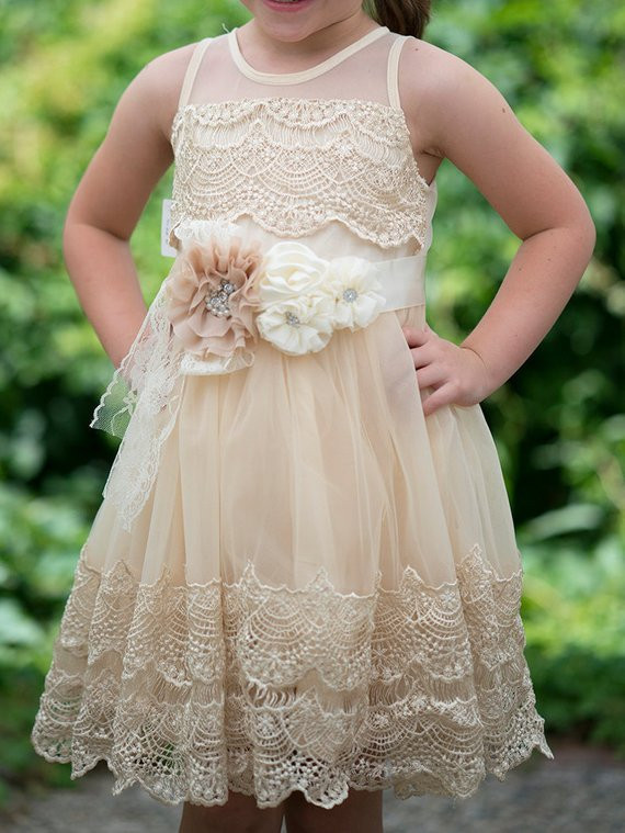 Crochet Flower Girl Dress Inspirational Girls Ivory Lace Dresscrochet Lace Dressivory Flower Girl Of Contemporary 42 Pics Crochet Flower Girl Dress