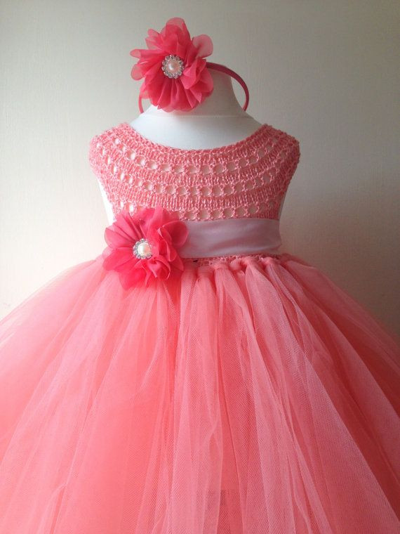 Coral Peach Flower girl dress coral tutu dress