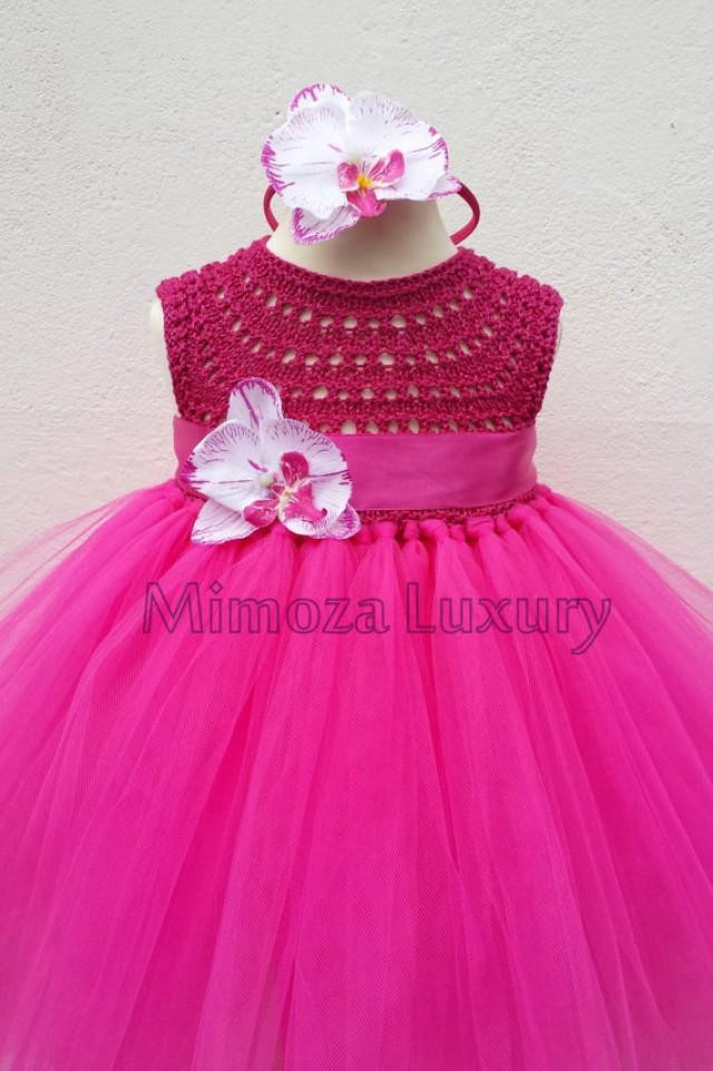 Magenta Fuchsia Orchid Flower Girl Dress Tutu Dress