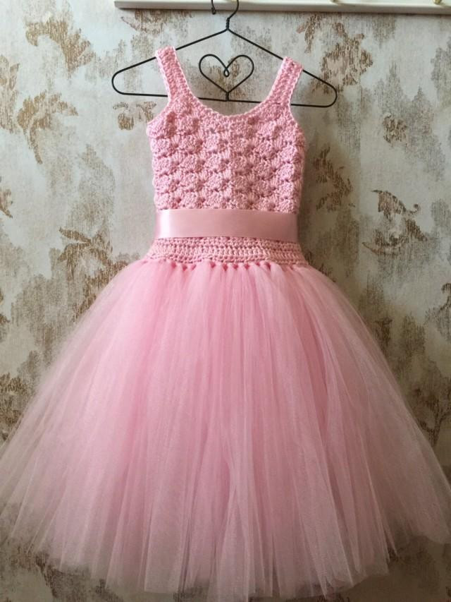 Crochet Flower Girl Dress Unique Pink Flower Girl Tutu Dress Birthday Tutu Dress Crochet Of Contemporary 42 Pics Crochet Flower Girl Dress
