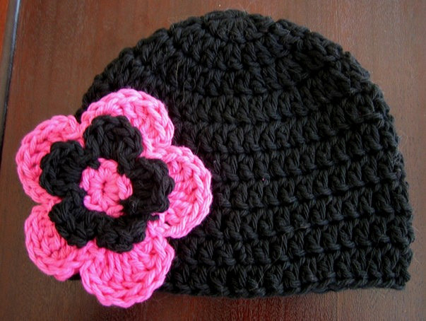 Crochet Flower Pattern for Hat Lovely Baby Beanie Hat with Flower Pattern Black Pink Of Beautiful 47 Ideas Crochet Flower Pattern for Hat