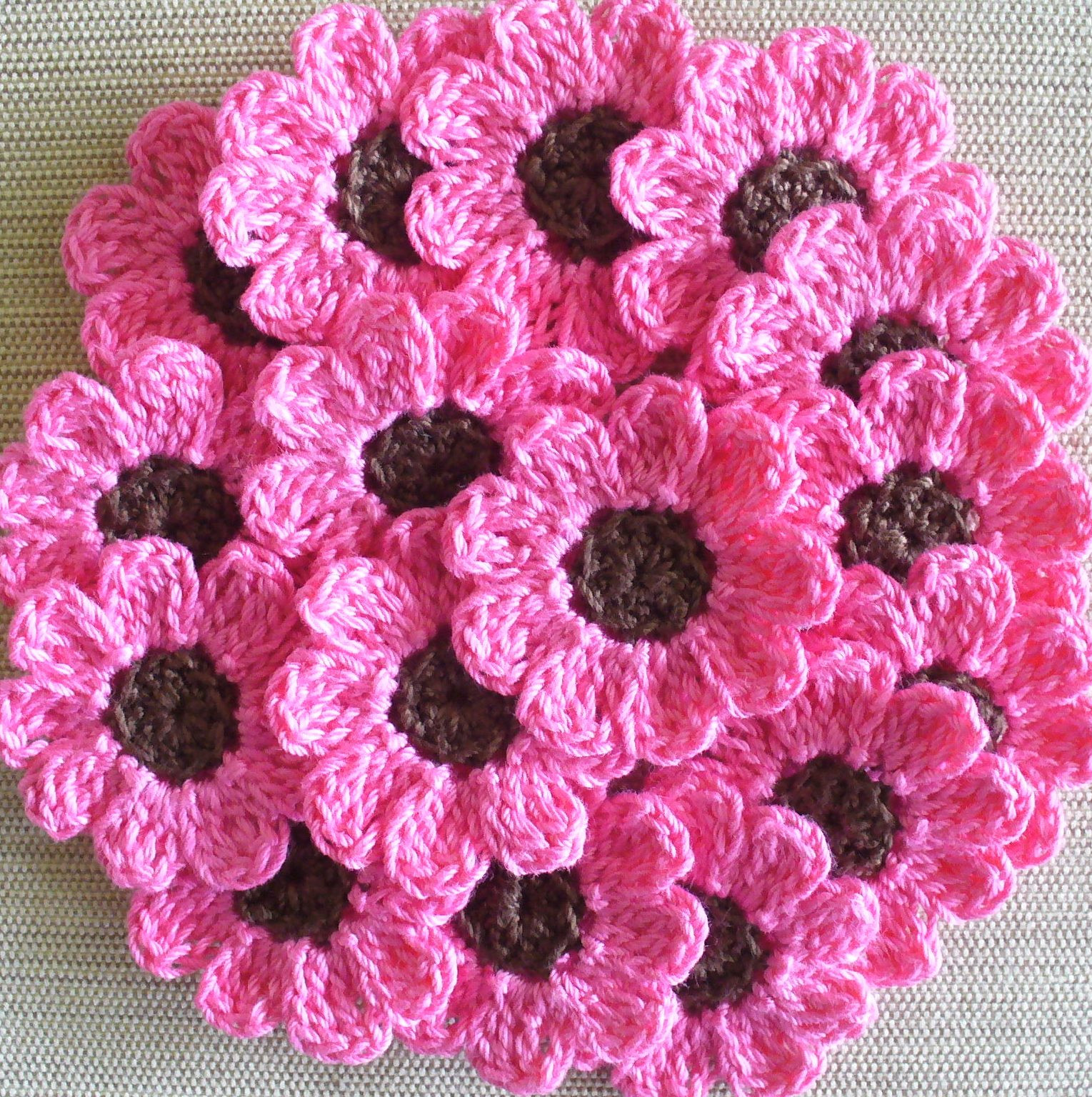 Crochet Flower Pattern Luxury Pink Crochet Flowers Daisies 16 Small Handmade Appliques Of Marvelous 41 Pics Crochet Flower Pattern