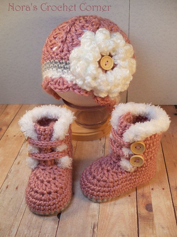Crochet for Baby Girl Awesome Crochet Baby Girl Fur Trim Boots and Hat by Of Top 41 Pics Crochet for Baby Girl