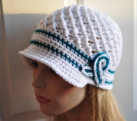 Crochet for Cancer Lovely Ovarian Cancer Awareness Crochet Hat Teal White by theedgeof17 Of Contemporary 40 Pictures Crochet for Cancer