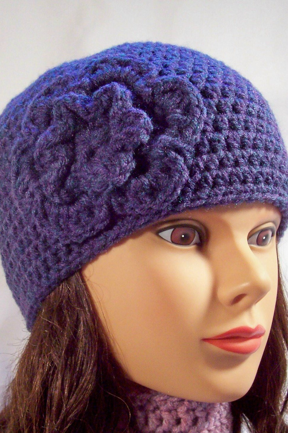 Crochet Girl Hat Elegant Womens Crochet Hat Girls Crochet Hat with Flower Dark Purple Of Superb 47 Pics Crochet Girl Hat
