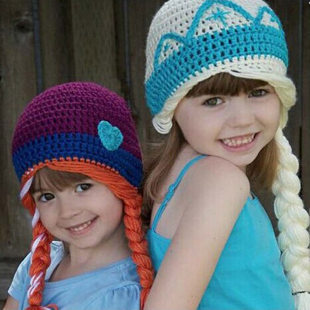 New Crochet Baby Girl Frozen Beanie Knitted Crochet Girl