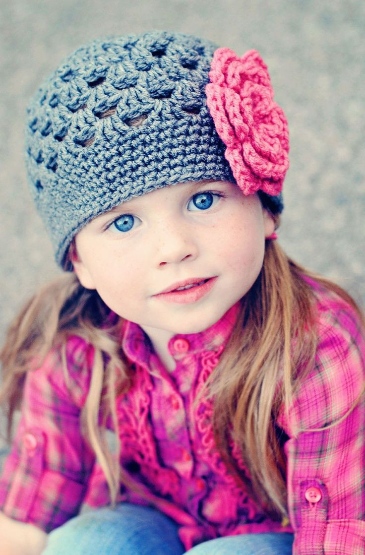 Crochet Girl Hats Fresh the Gallery for Girls Hats with Flowers Of Attractive 44 Models Crochet Girl Hats
