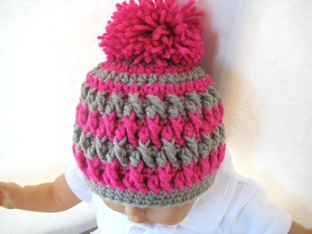 Pom Pom Beanie for Boy or Girl Crochet Pattern Newborn