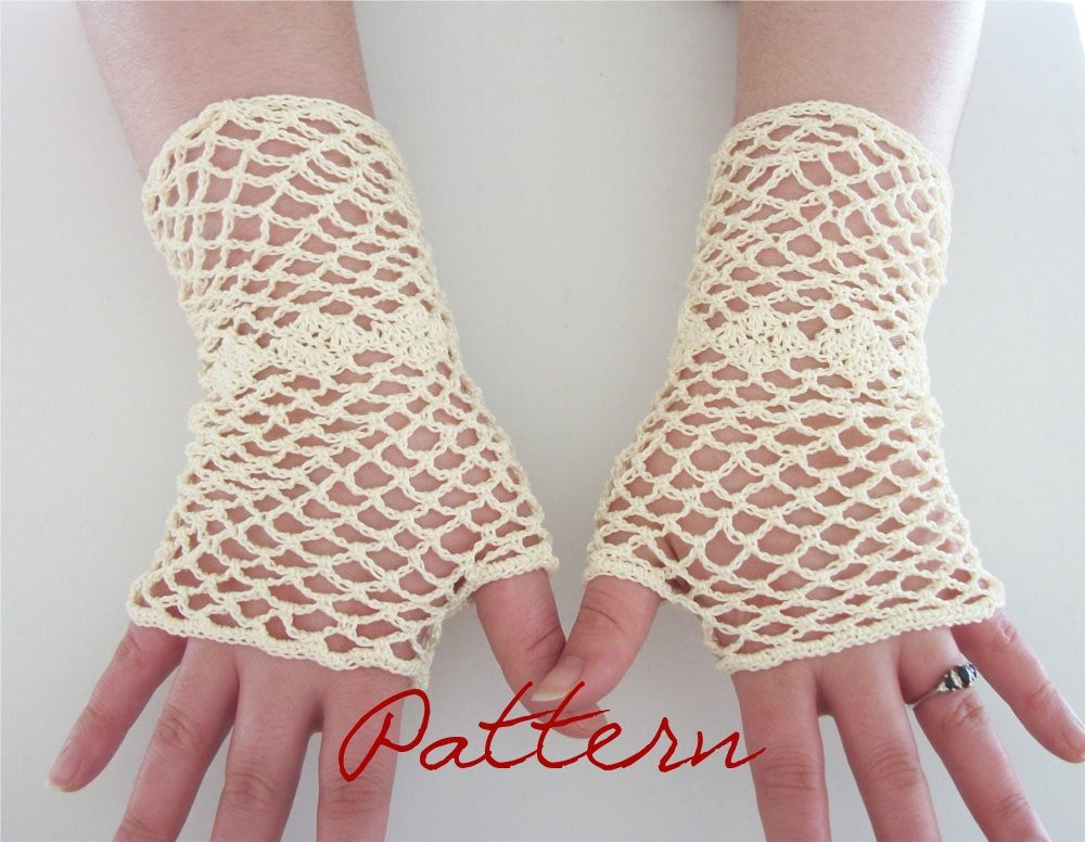 Crochet Gloves Awesome Pdf Crochet Pattern Bridal Fishnet Fingerless Gloves with Of Amazing 45 Ideas Crochet Gloves
