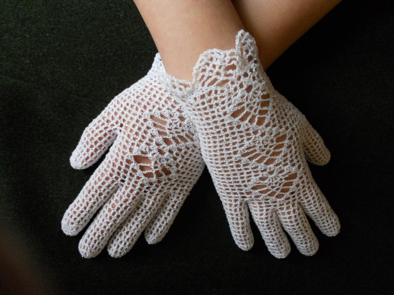 Bridal crochet gloves white lace gloves winter wedding