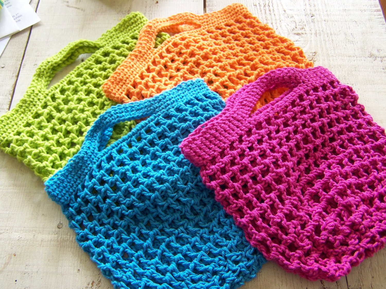 Crochet Grocery Bags Luxury 4 Reuseable Grocery Shopping Bags Hand Crocheted Cotton Of New 45 Pictures Crochet Grocery Bags