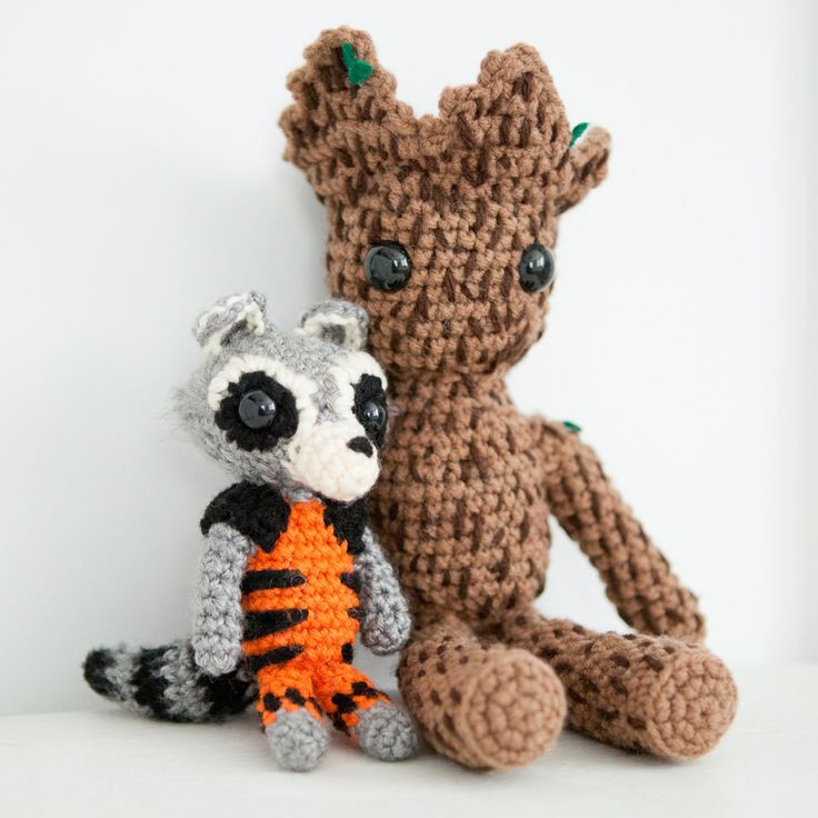 Amigurumi Crochet Rocket and Groot from Guardians of the